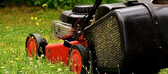 Lawnmower with a 2 stroke engine